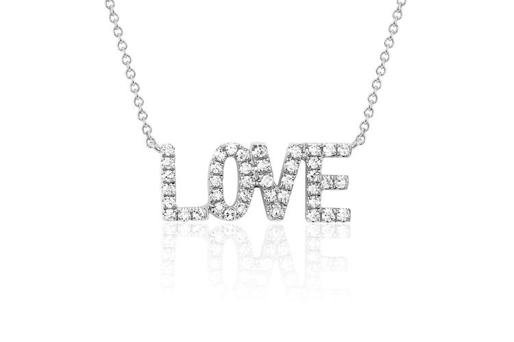 EF Collection Love Diamond Necklace in 14K White Gold