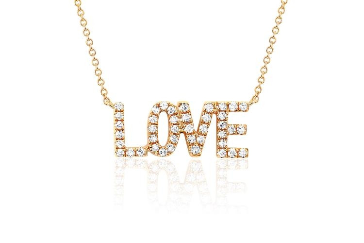 EF Collection Love Diamond Necklace in yellow gold