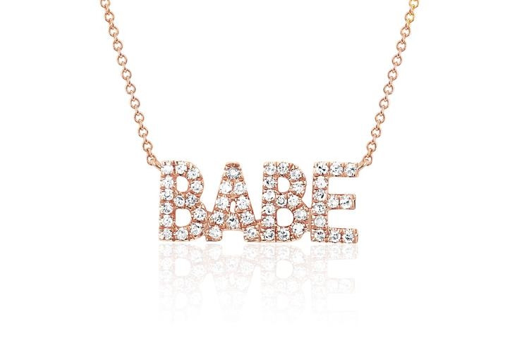 EF Collection Mini Diamond Babe Pendant Necklace in rose gold