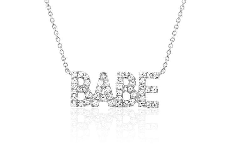 EF Collection Mini Diamond Babe Pendant Necklace in white gold