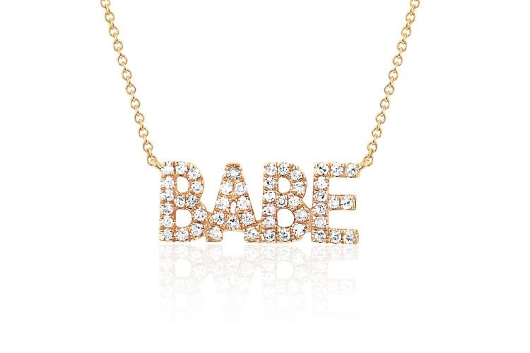 EF Collection Mini Diamond Babe Pendant Necklace in yellow gold