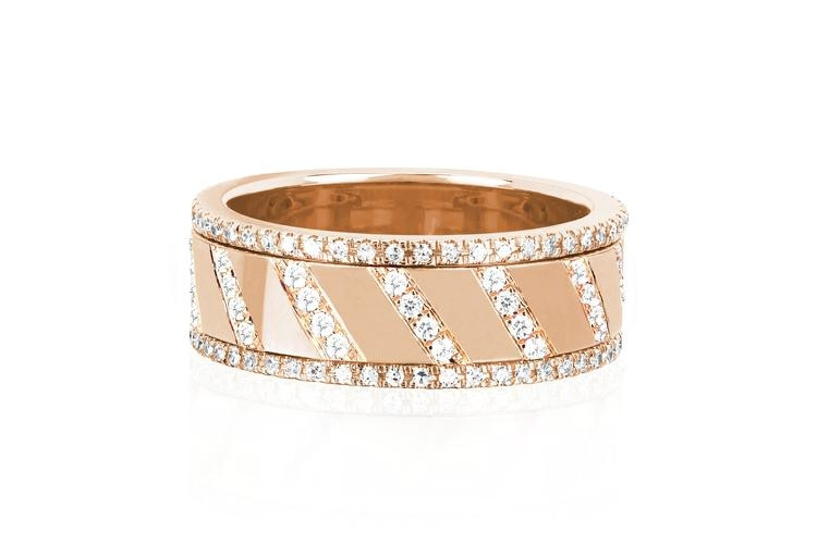 EF Collection Diamond Slash Spinning Ring in Rose Gold