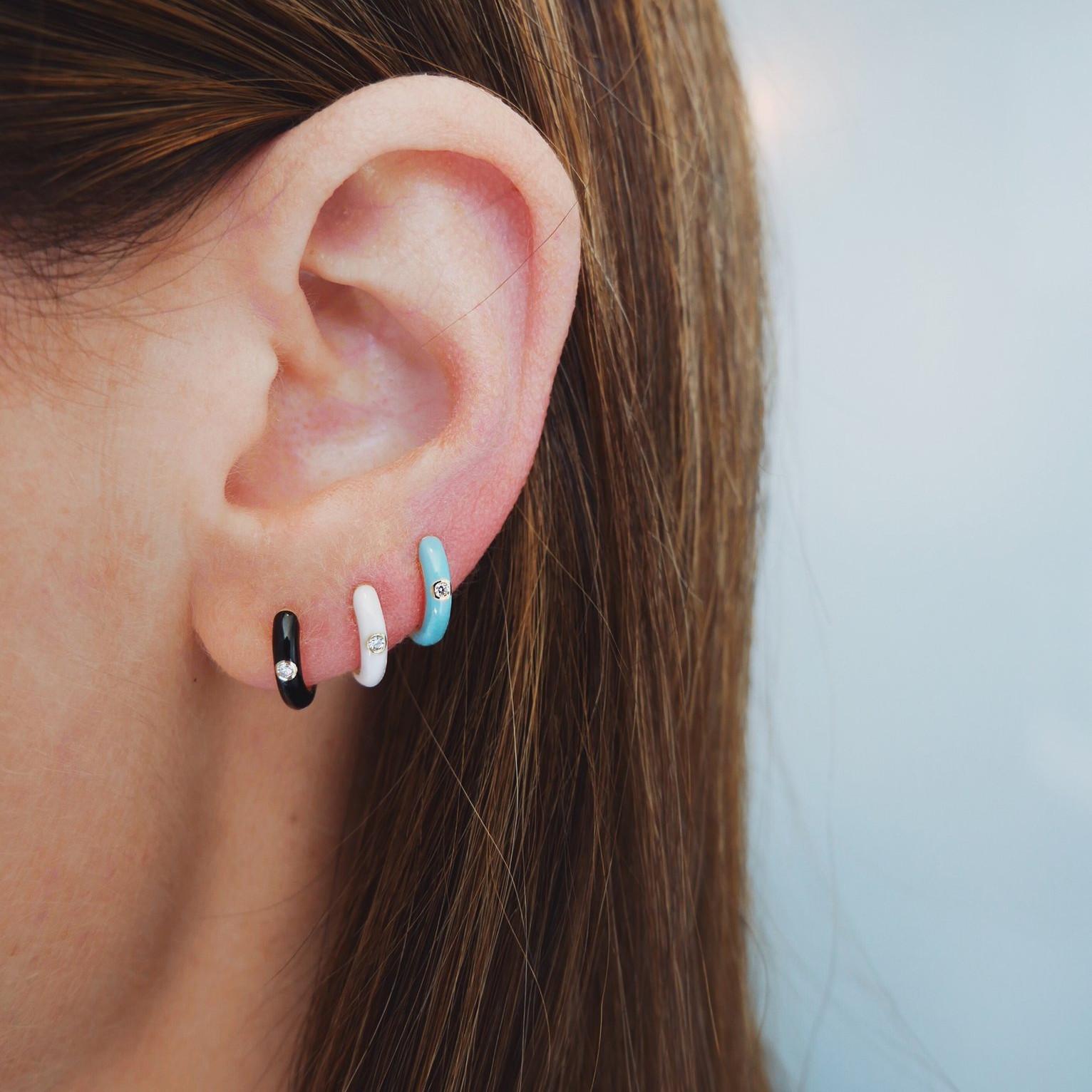 White Enamel & Diamond Huggie Earrings by EF Collection on Model