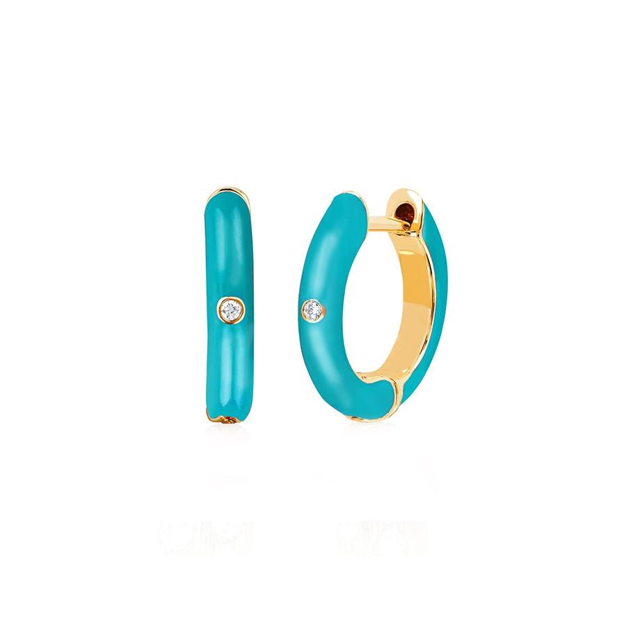 Turquoise Enamel & Diamond Huggie Earrings by EF Collection