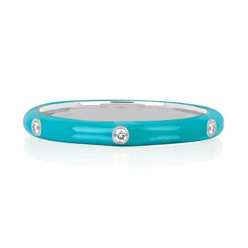Turquoise Enamel 5 Diamond Stack Ring by EF Collection White Gold