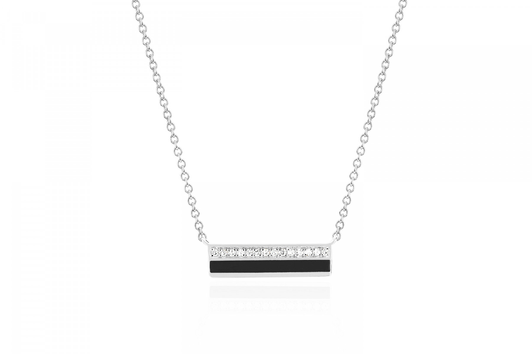 EF Collection Bar Necklace in 14K White Gold