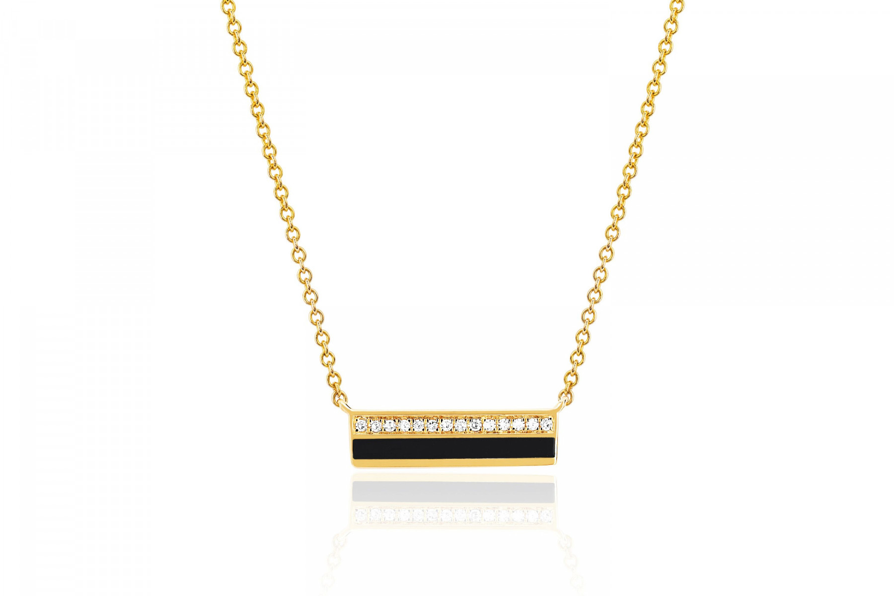 EF Collection Bar Necklace in 14K Yellow Gold
