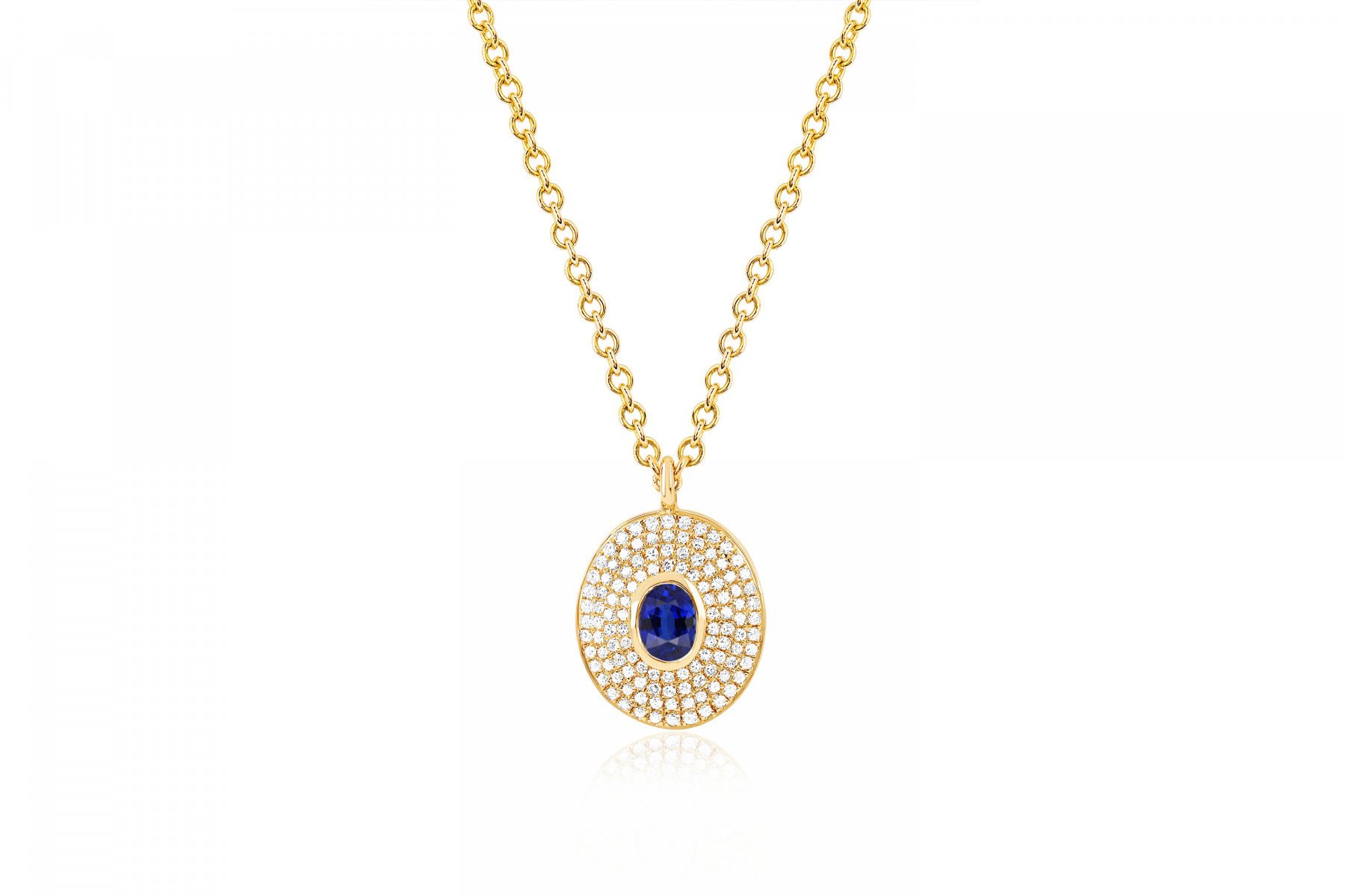 EF Collection Diamond & Blue Sapphire Oval Necklace in 14K Gold front view
