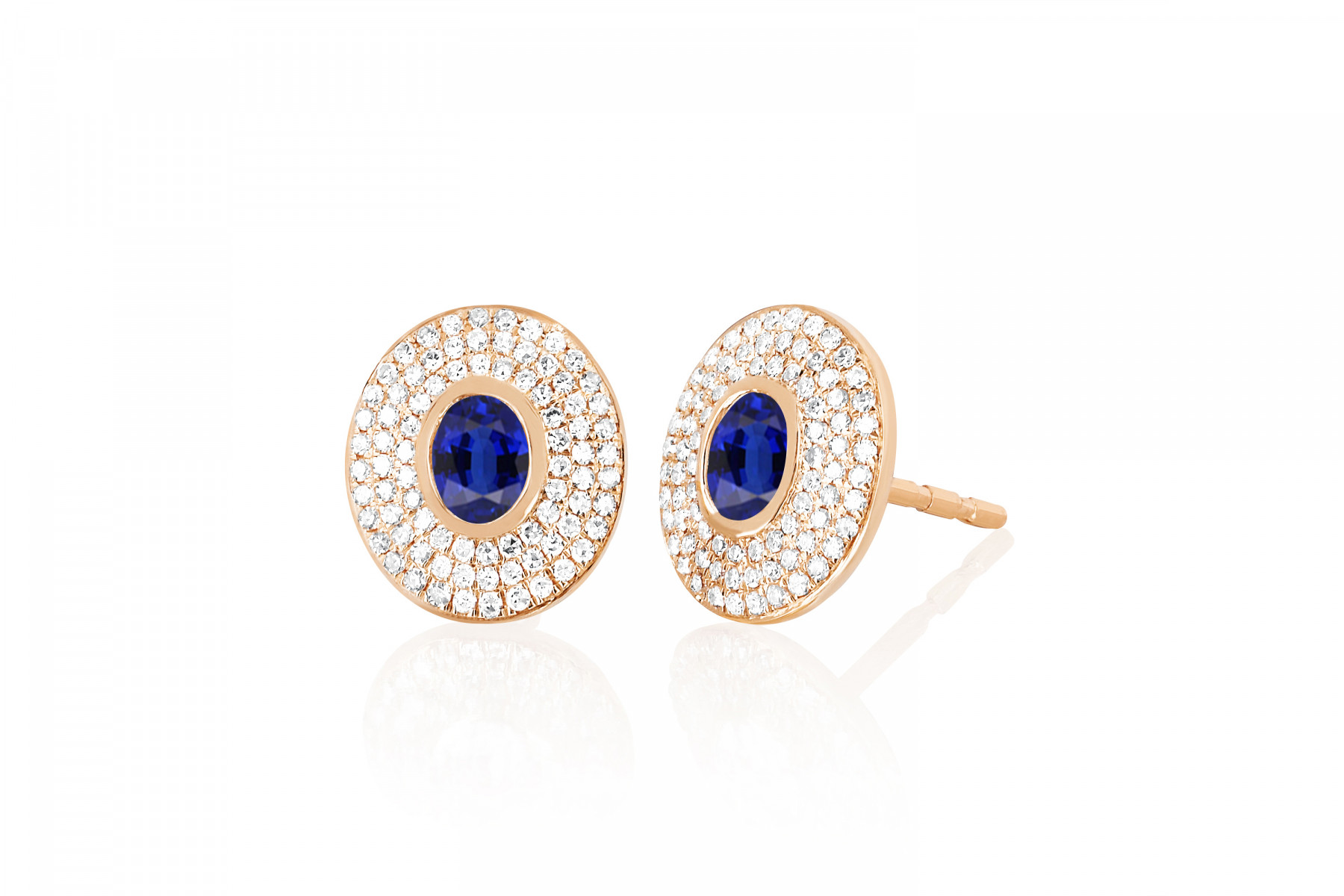 EF Collection Blue Sapphire and Diamond Oval Stud Earrings in rose gold