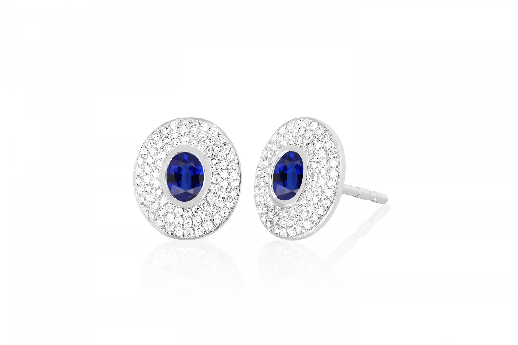 EF Collection Blue Sapphire and Diamond Oval Stud Earrings in white Gold