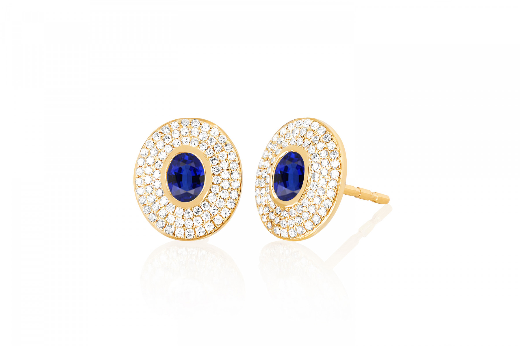 EF Collection Blue Sapphire and Diamond Oval Stud Earrings in yellow gold
