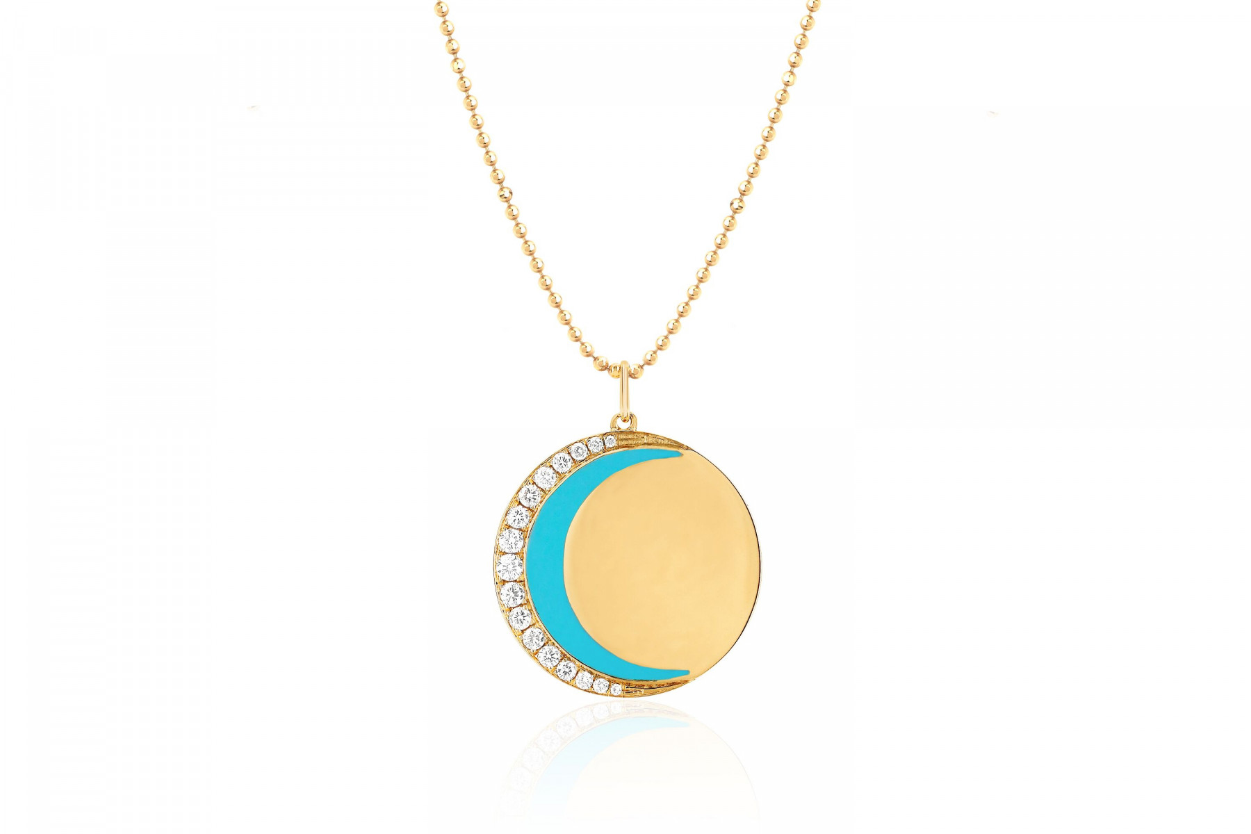 EF Collection 14K Gold Turquoise Crescent Necklace