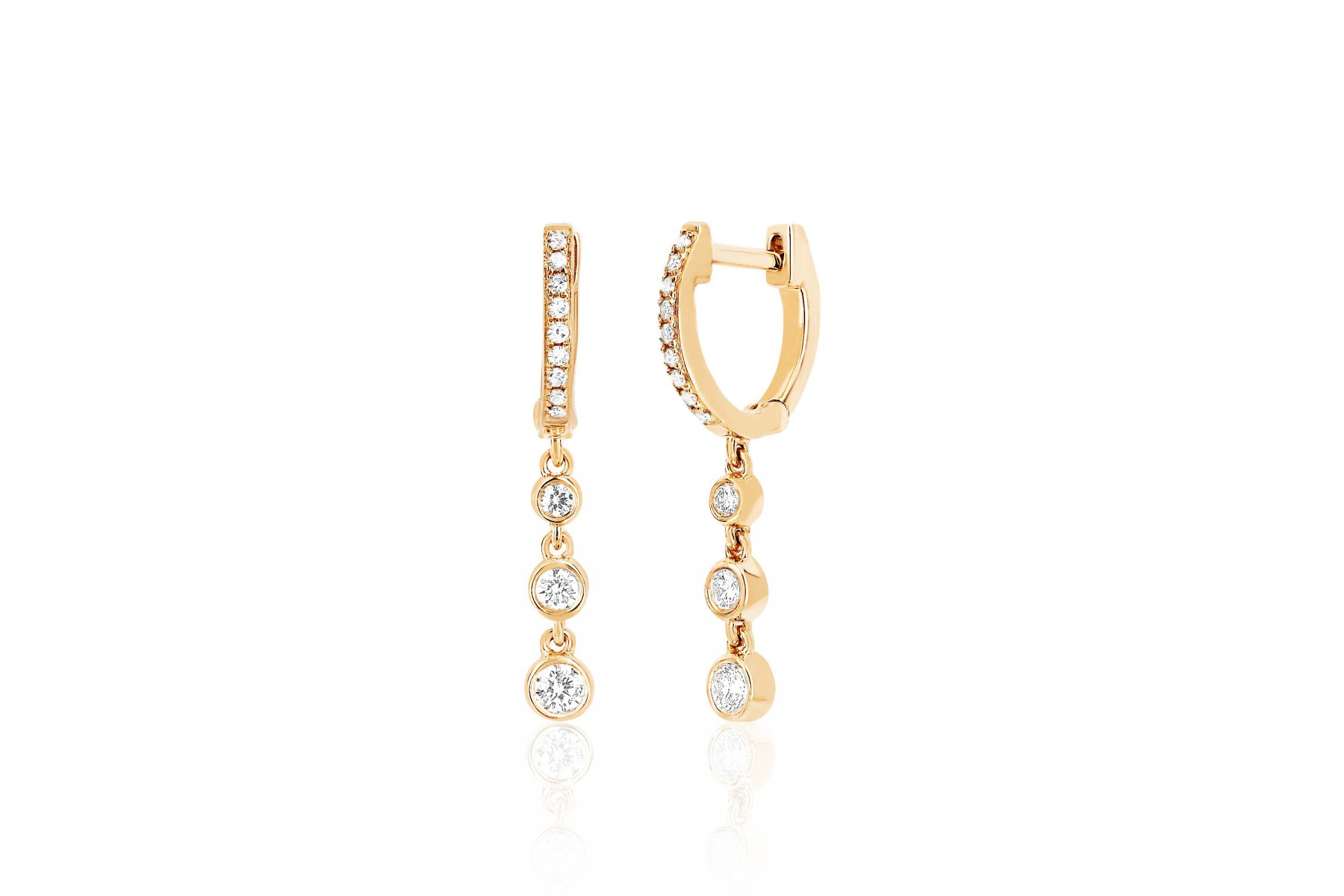 EF Collection Diamond Drop Earrings in 14K Gold
