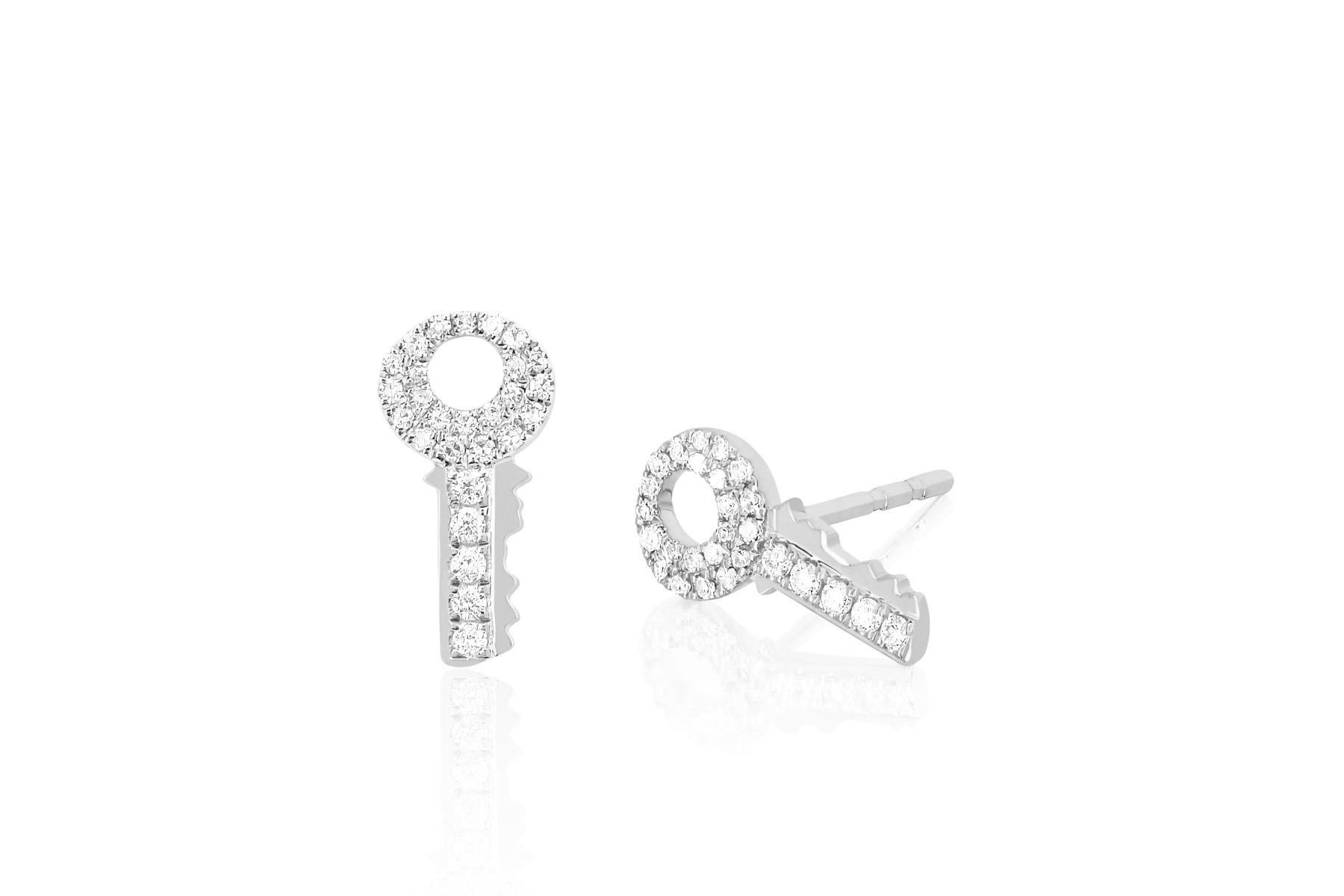 EF Collection Diamond Key Stud Earrings in 14K White Gold