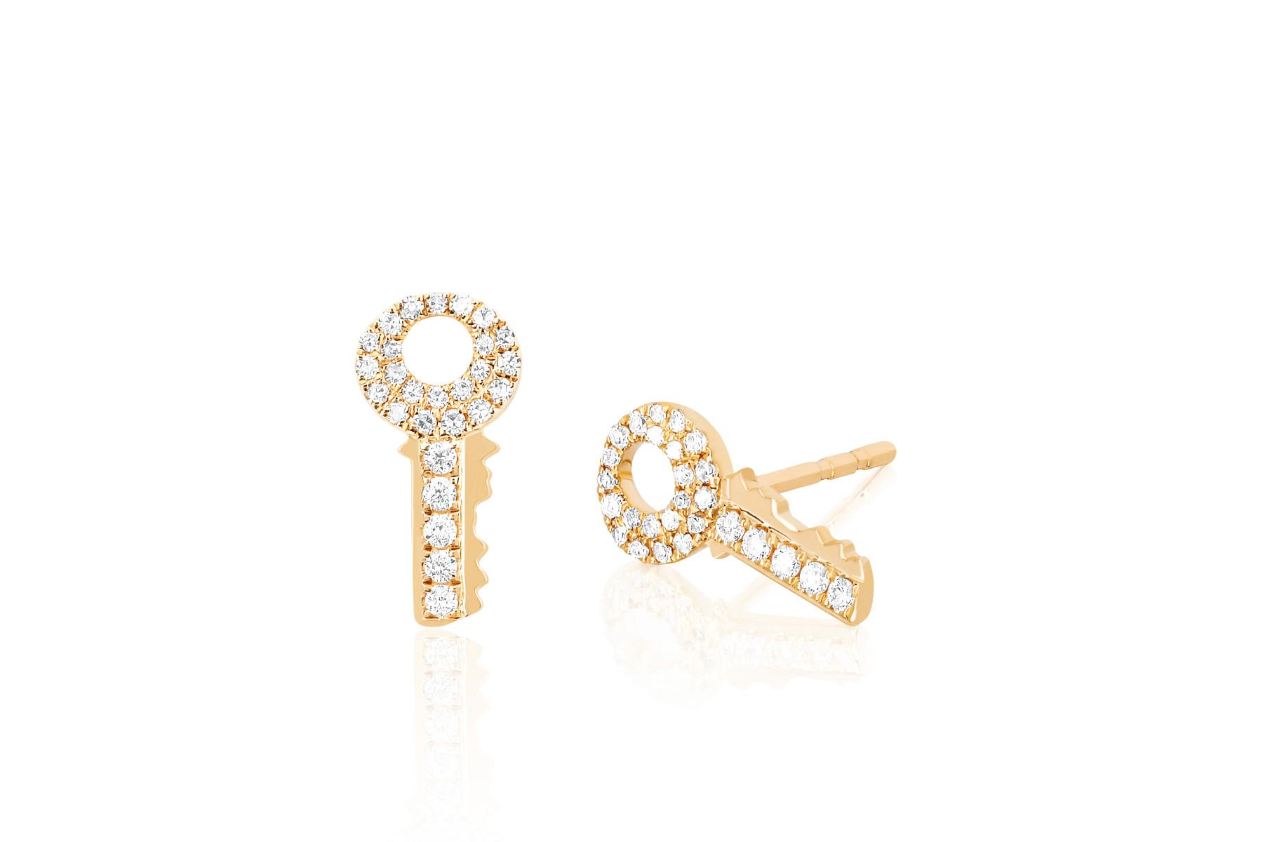 EF Collection Diamond Key Stud Earrings in 14K Yellow Gold