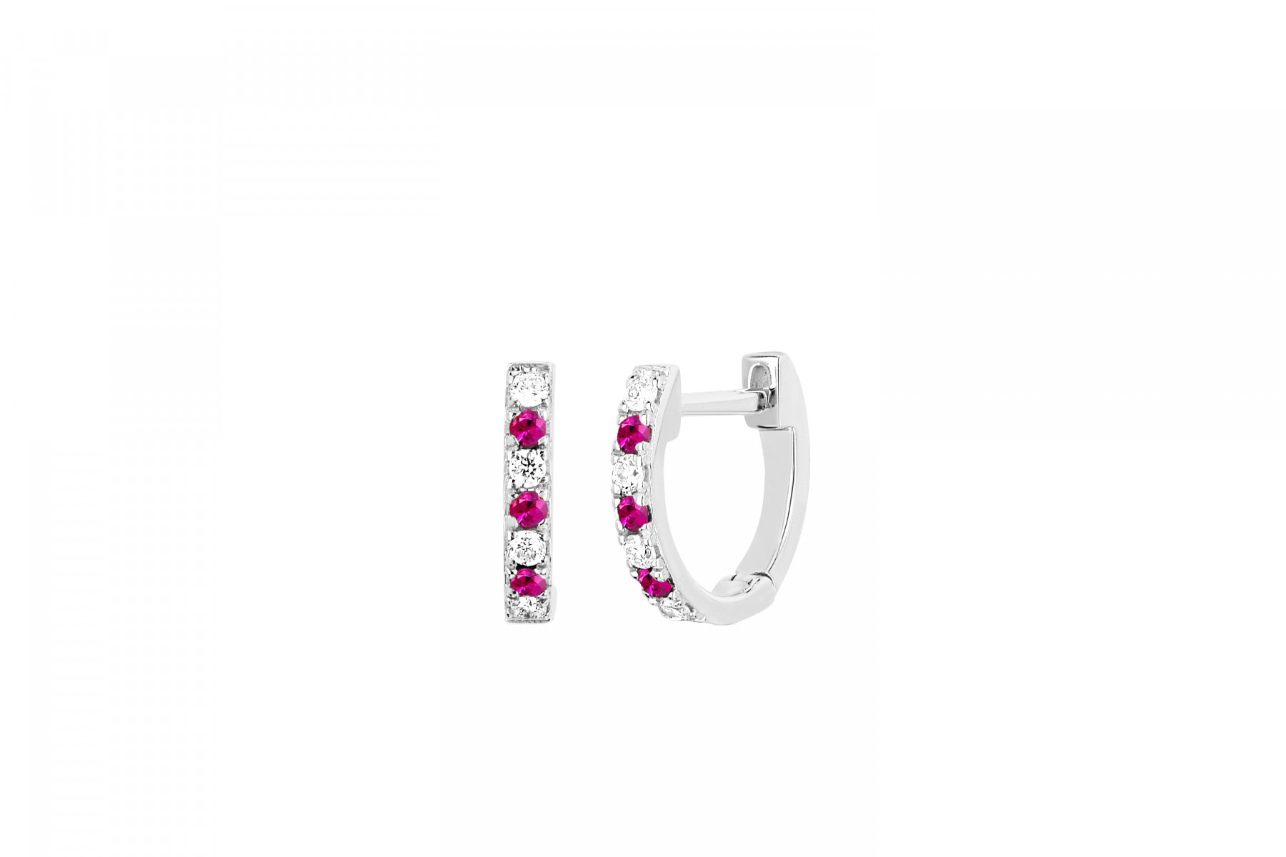 EF Collection Diamond and Ruby Huggies in 14K White Gold