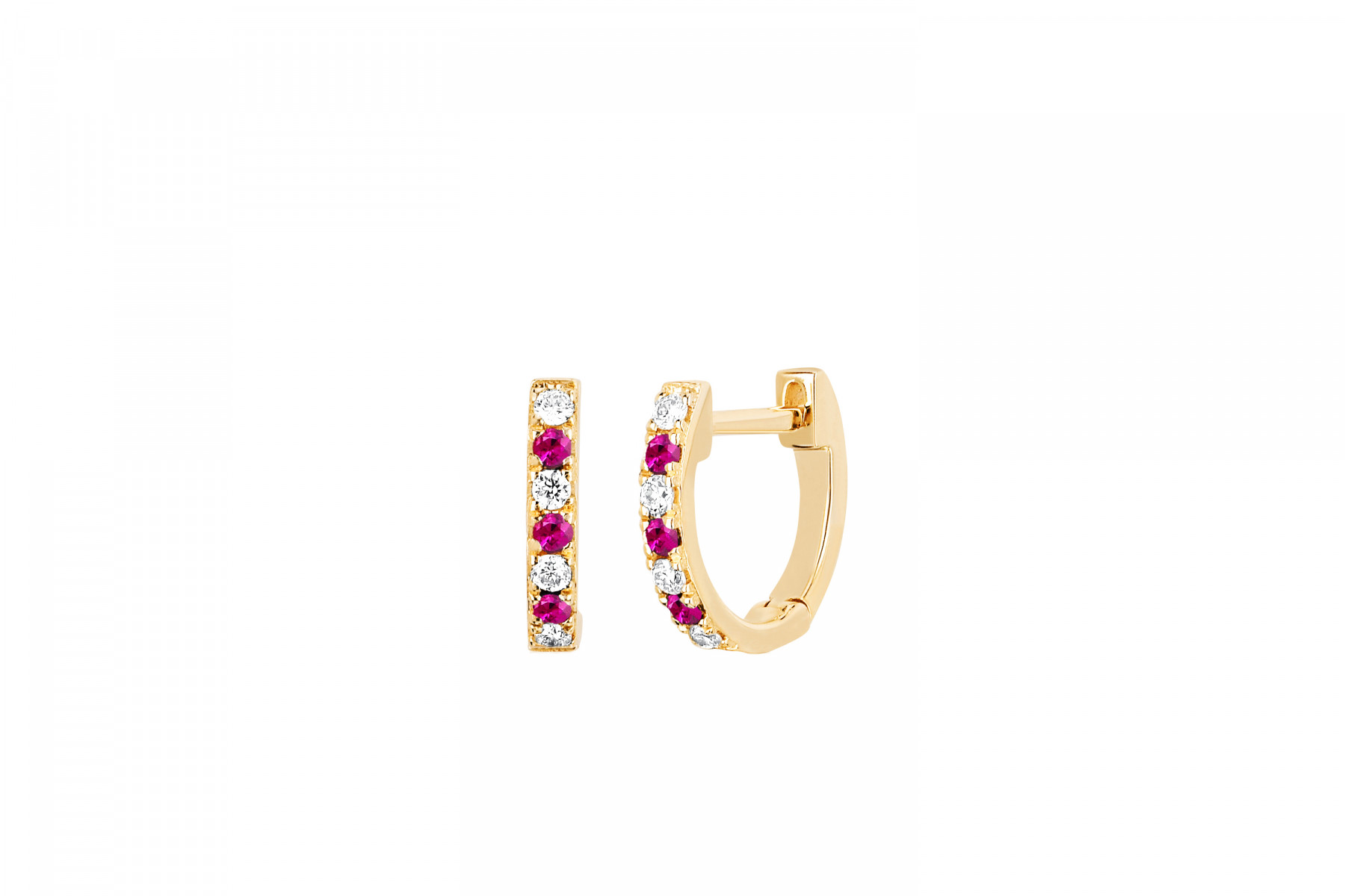 EF Collection Diamond and Ruby Huggies in 14K Yellow Gold
