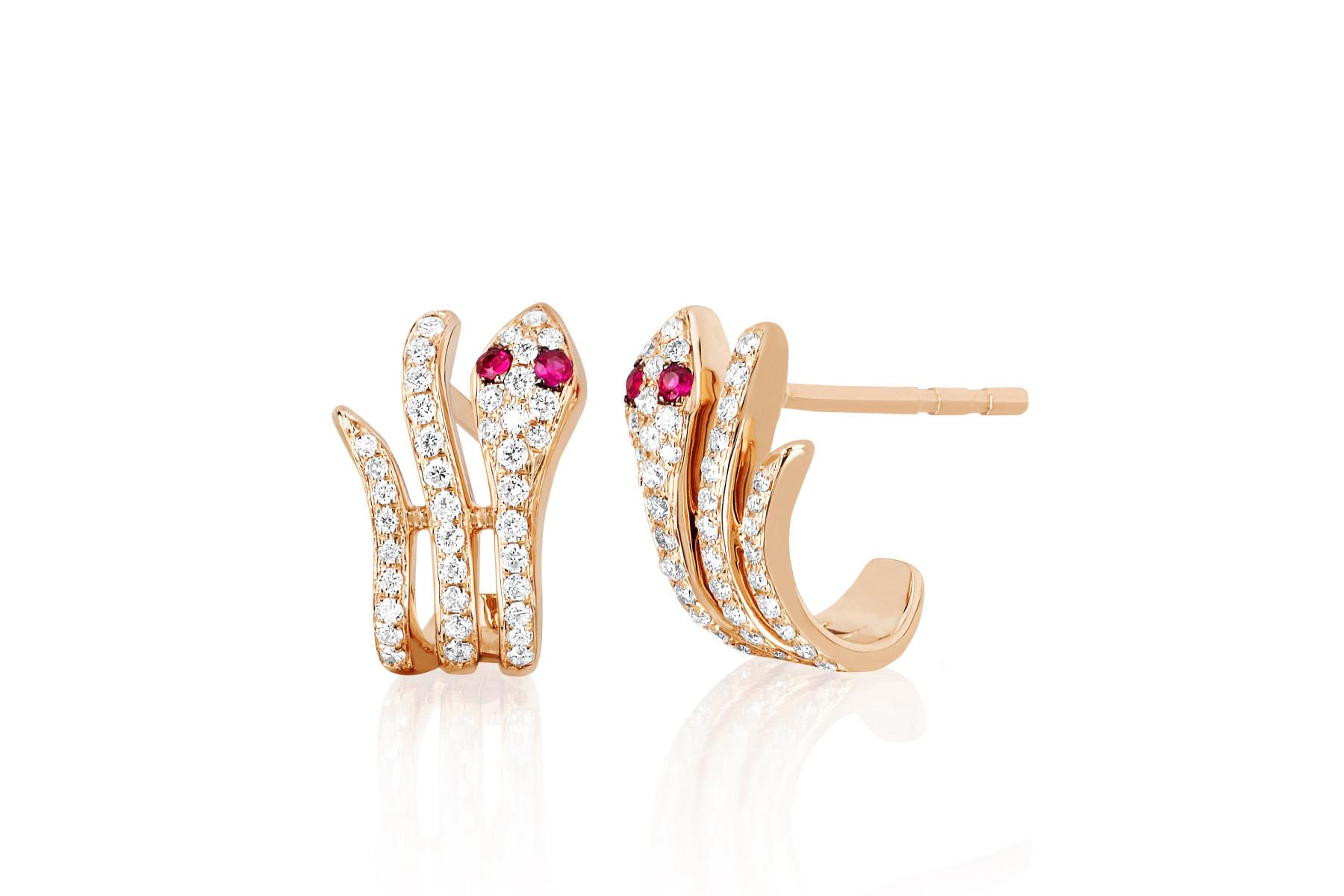 EF Collection Diamond Snake Huggie Earrings in 14K Rose Gold