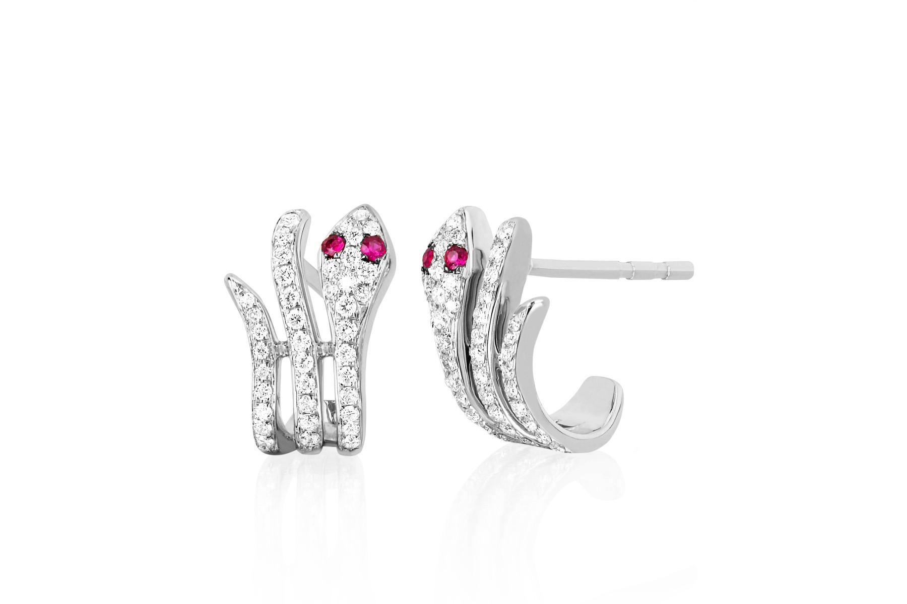 EF Collection Diamond Snake Huggie Earrings in 14K White Gold