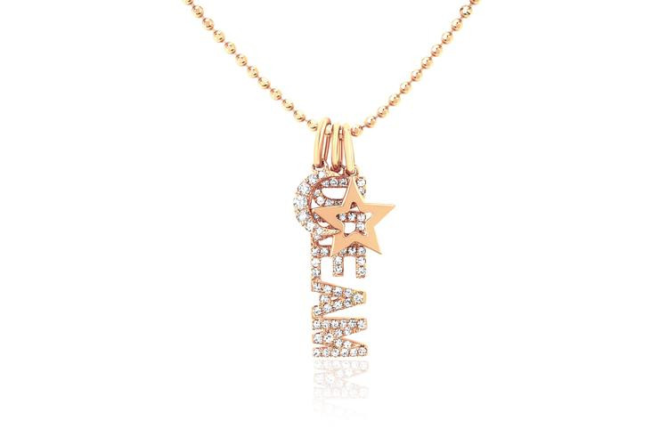 EF Collection Dream Charm Necklace in 14K Gold front view