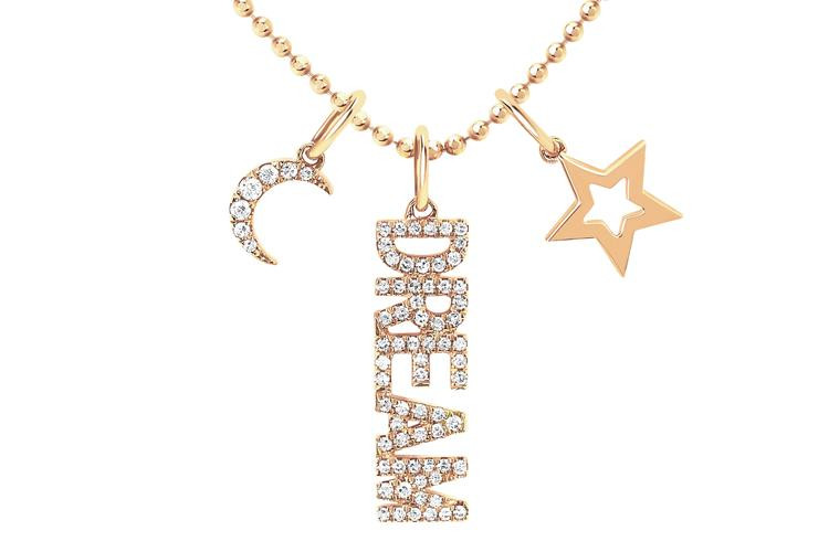 EF Collection Dream Charm Necklace in 14K Gold front spread view