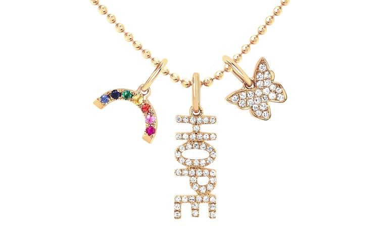 EF Collection Hope Charm Necklace in 14K Gold front spread view