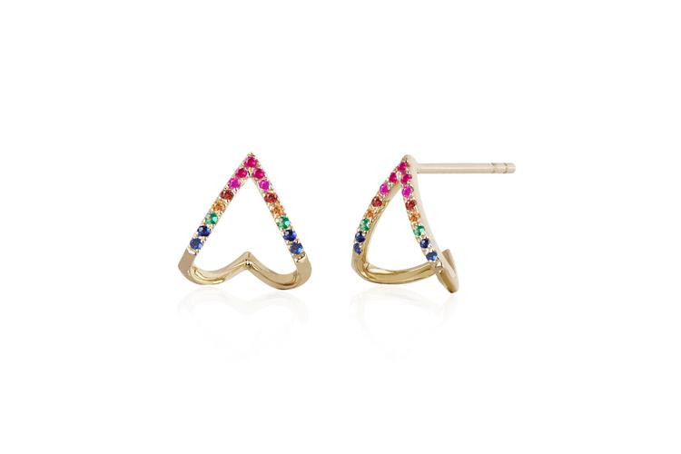 EF Collection Rainbow Chevron Earrings in 14K Gold