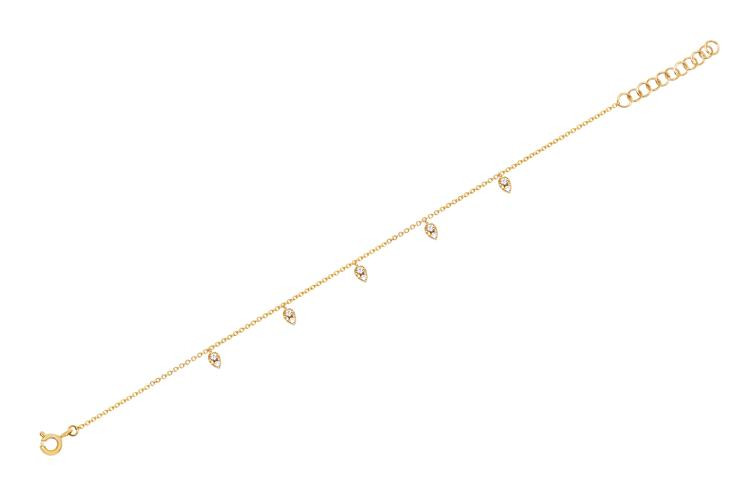 EF Collection 5 Teardrop Station Anklet in 14K Gold front view