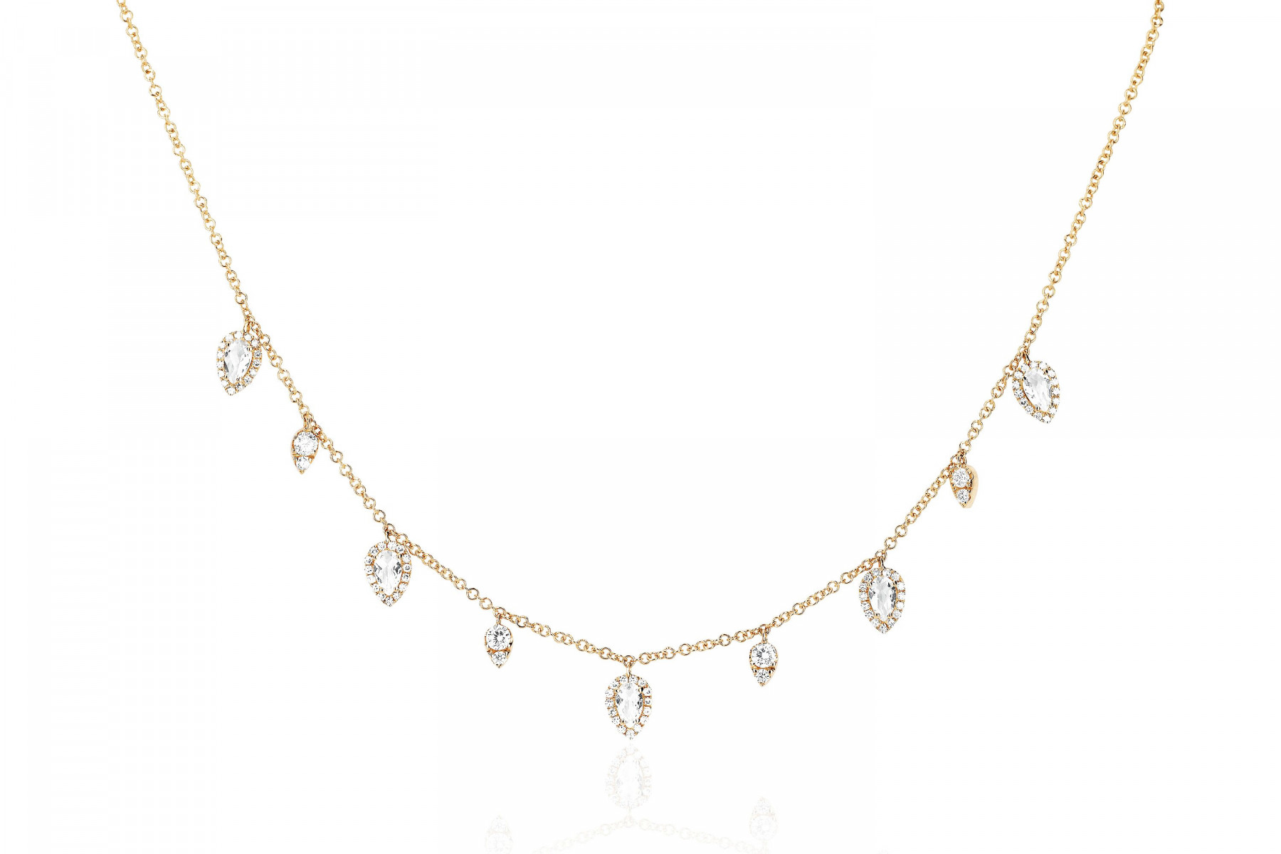 EF Collection Teardrop Station Necklace in 14K Gold