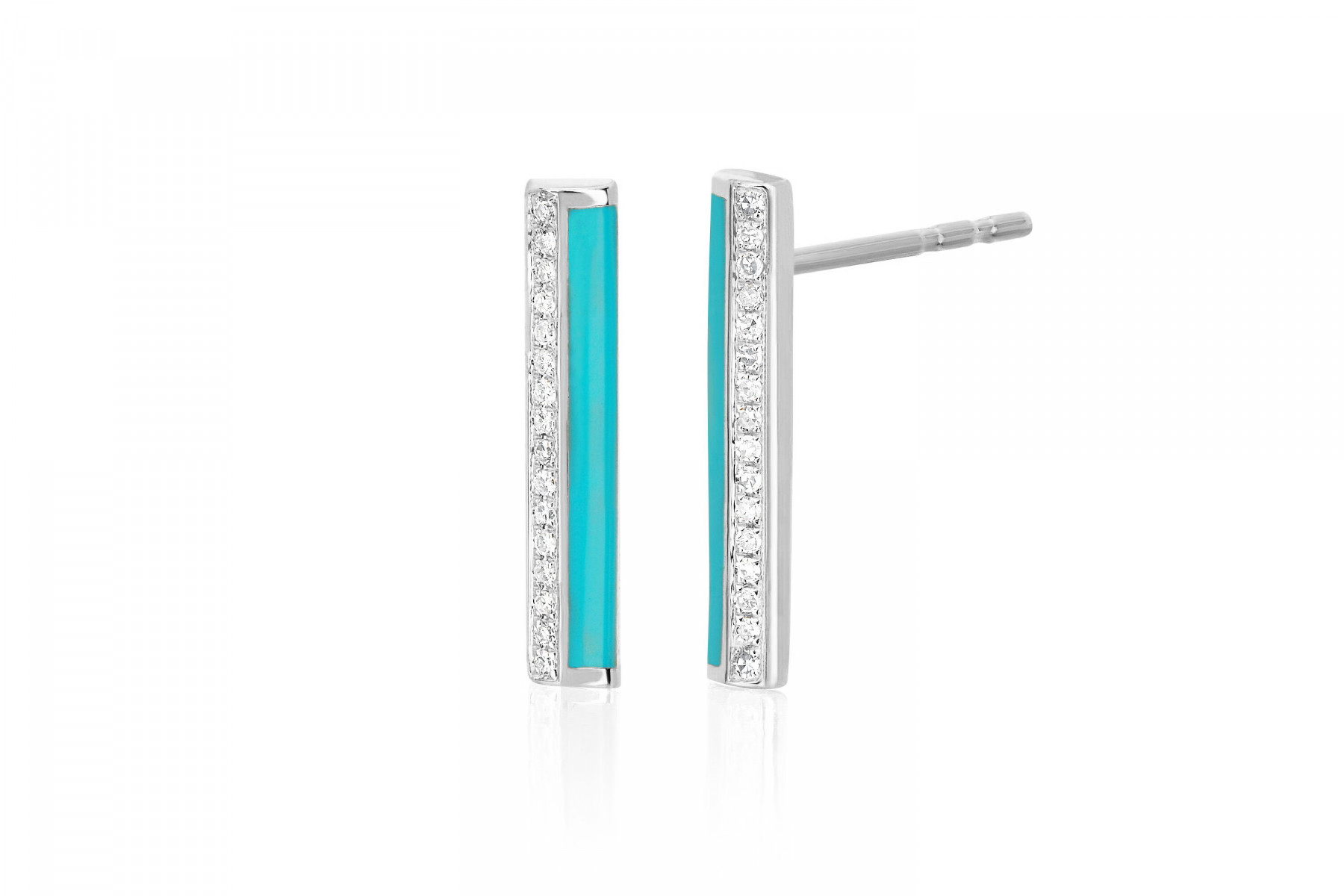 EF Collection Bar Stud Earrings in 14K White Gold