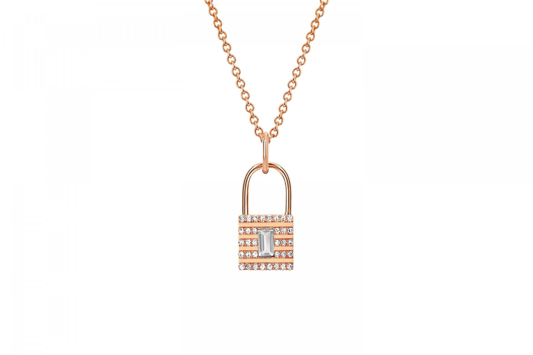 EF Collection Topaz Lock Necklace in 14K Gold main view