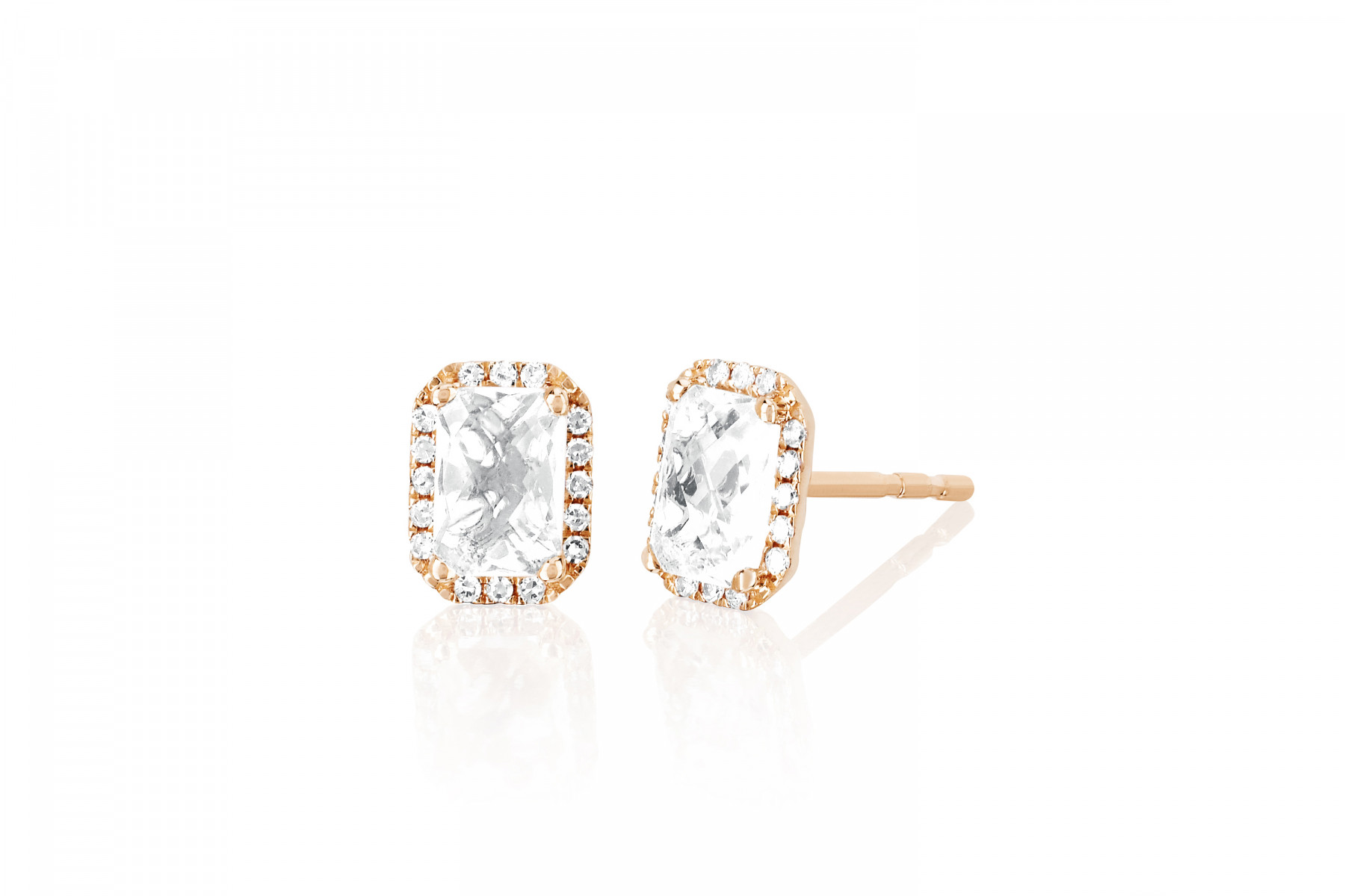 EF Collection White Topaz and Diamond Studs in 14K Rose Gold