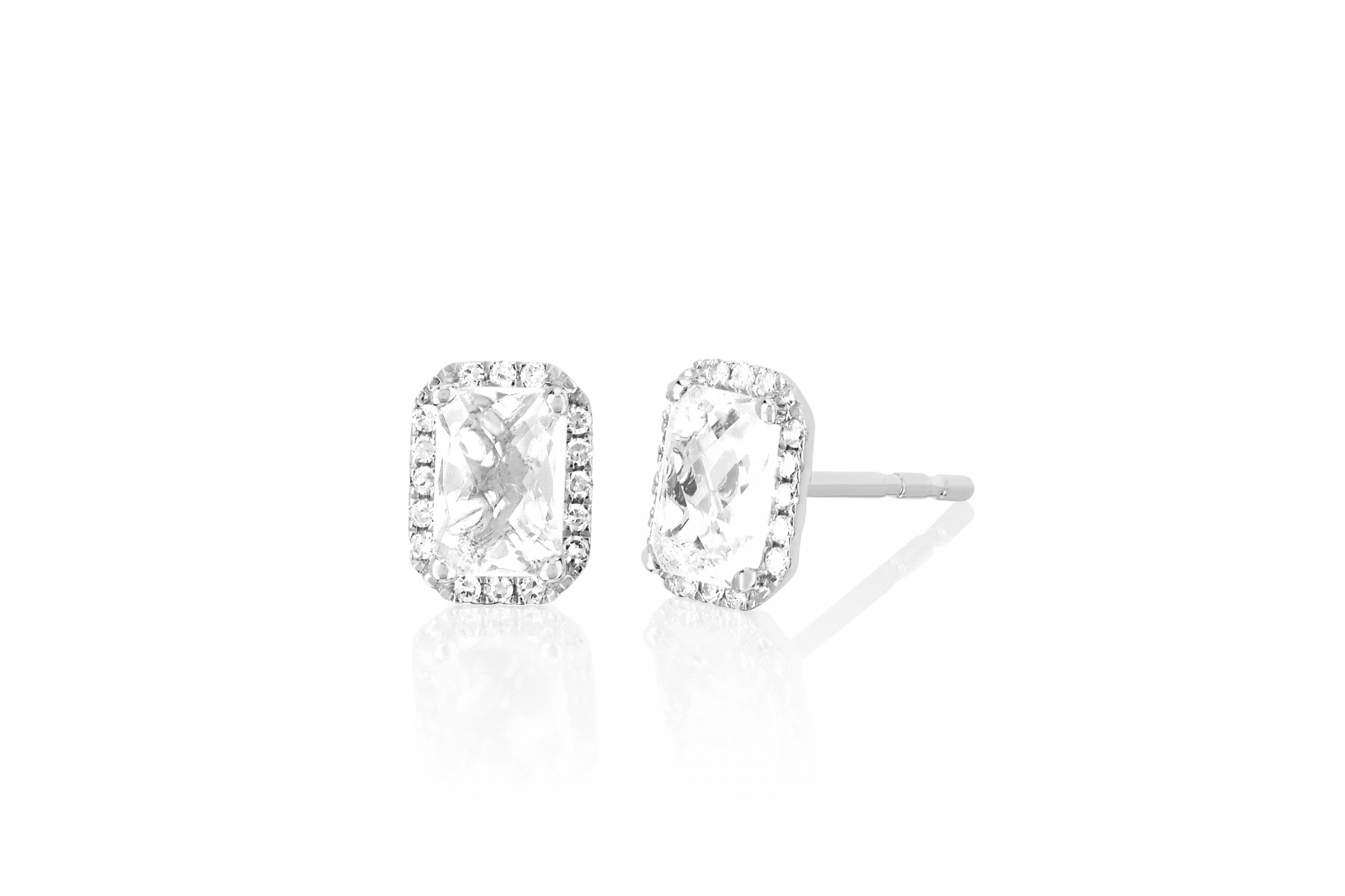 EF Collection White Topaz and Diamond Studs in 14K White Gold