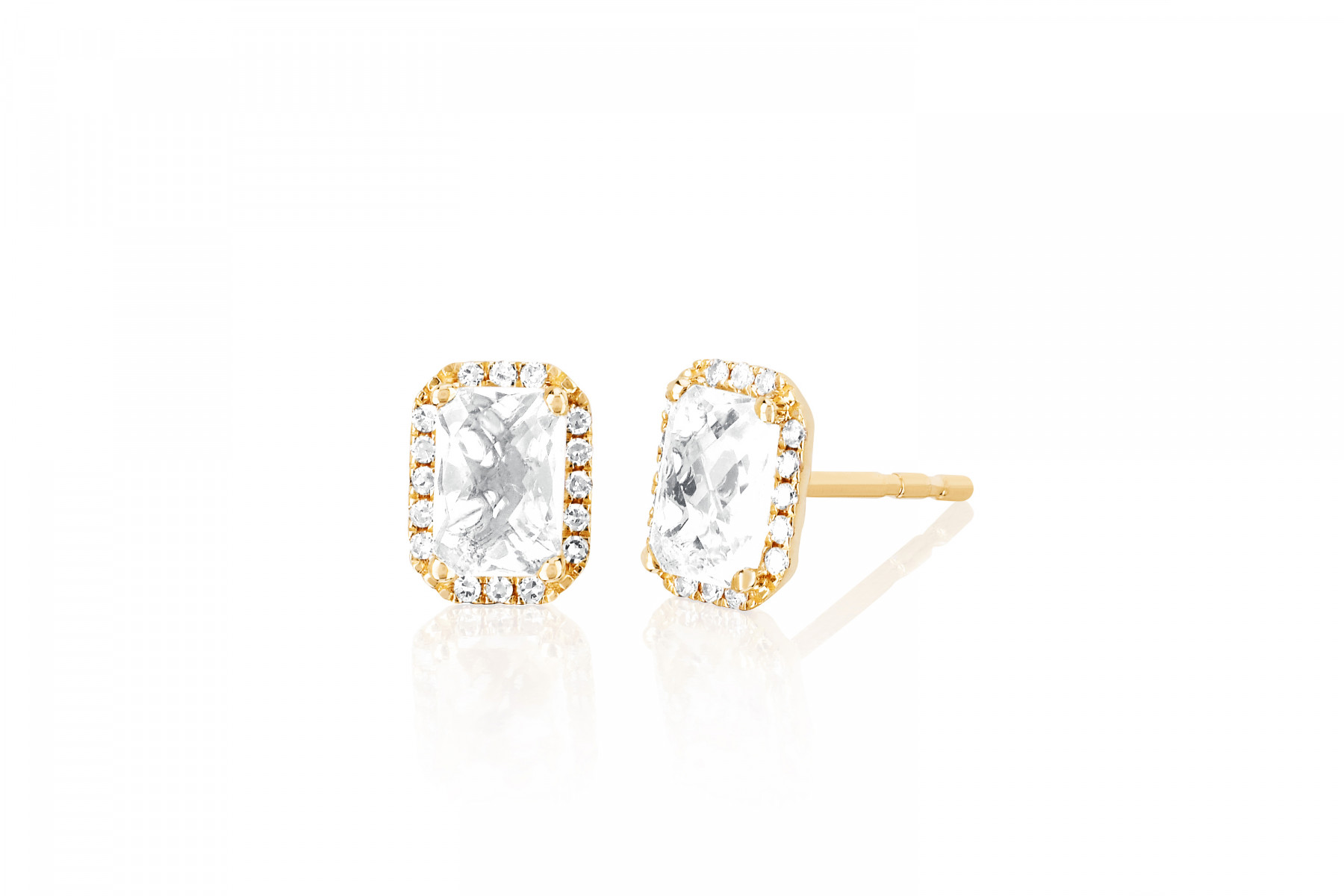 EF Collection White Topaz and Diamond Studs in 14K Yellow Gold