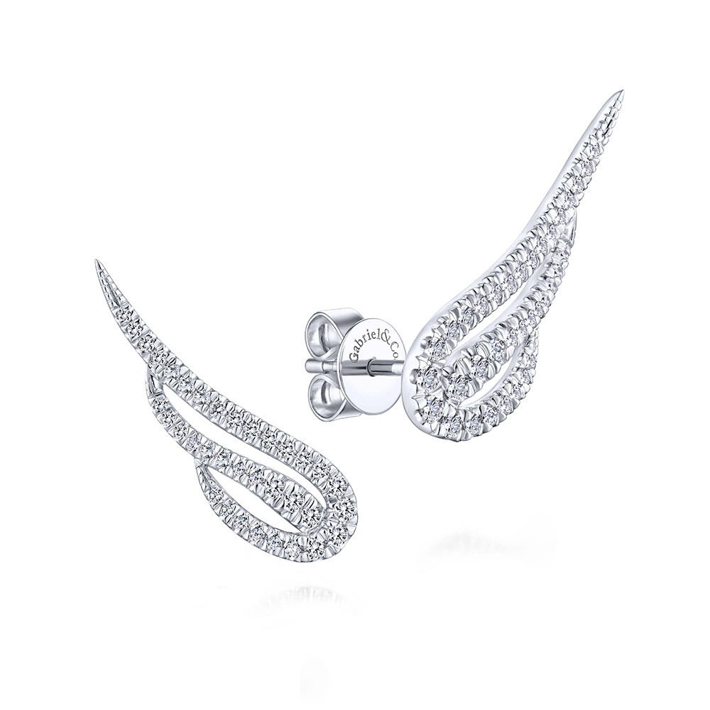White Gold Gabriel & Co. Diamond Angel Wing Stud Earrings