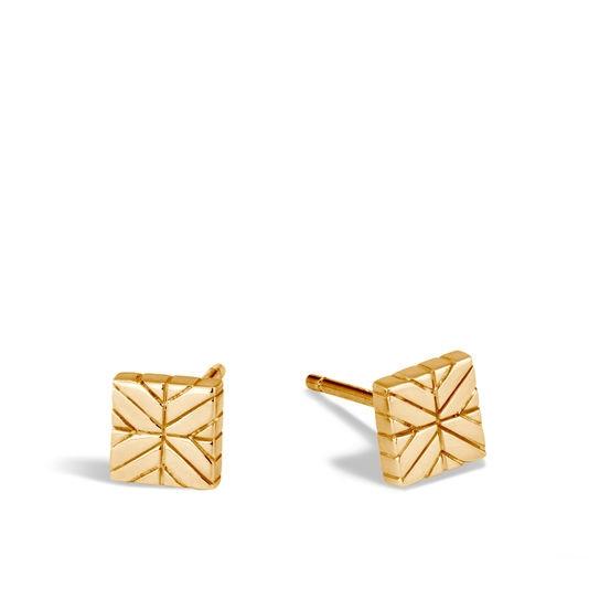John Hardy Modern Chain Square Stud Earrings in 18K Yellow Gold