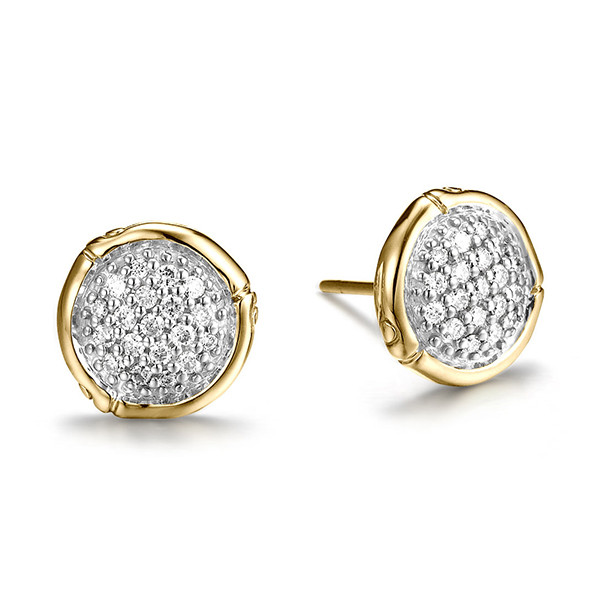 John Hardy Bamboo Gold Small Diamond Stud Earrings