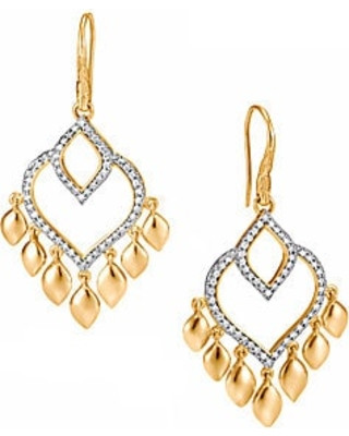 John Hardy Legends Naga 18K Gold and Diamond Chandelier Earrings
