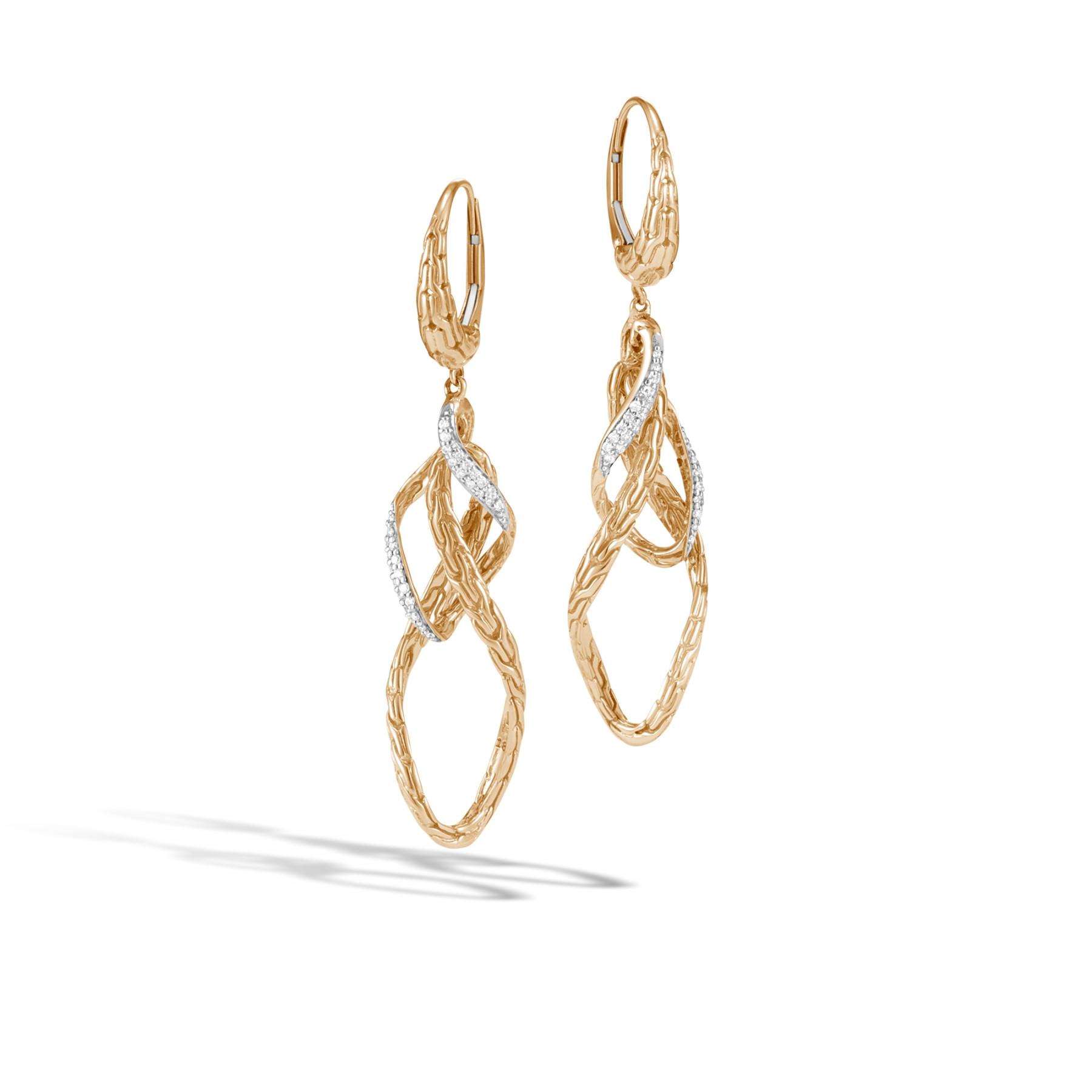 John Hardy Classic Chain Diamond Stud Earrings in Yellow Gold