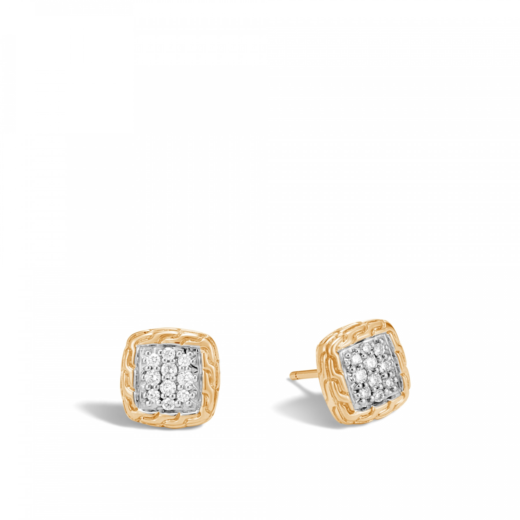 John Hardy Classic Chain Diamond Stud Earring in Yellow Gold