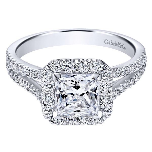 Gabriel&Co White Gold Split Shank Diamond Halo Engagement Setting