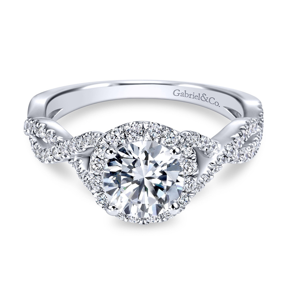 Gabriel & Co. Marissa 14kt White Gold Diamond Halo Twist Engagement Ring Setting front view