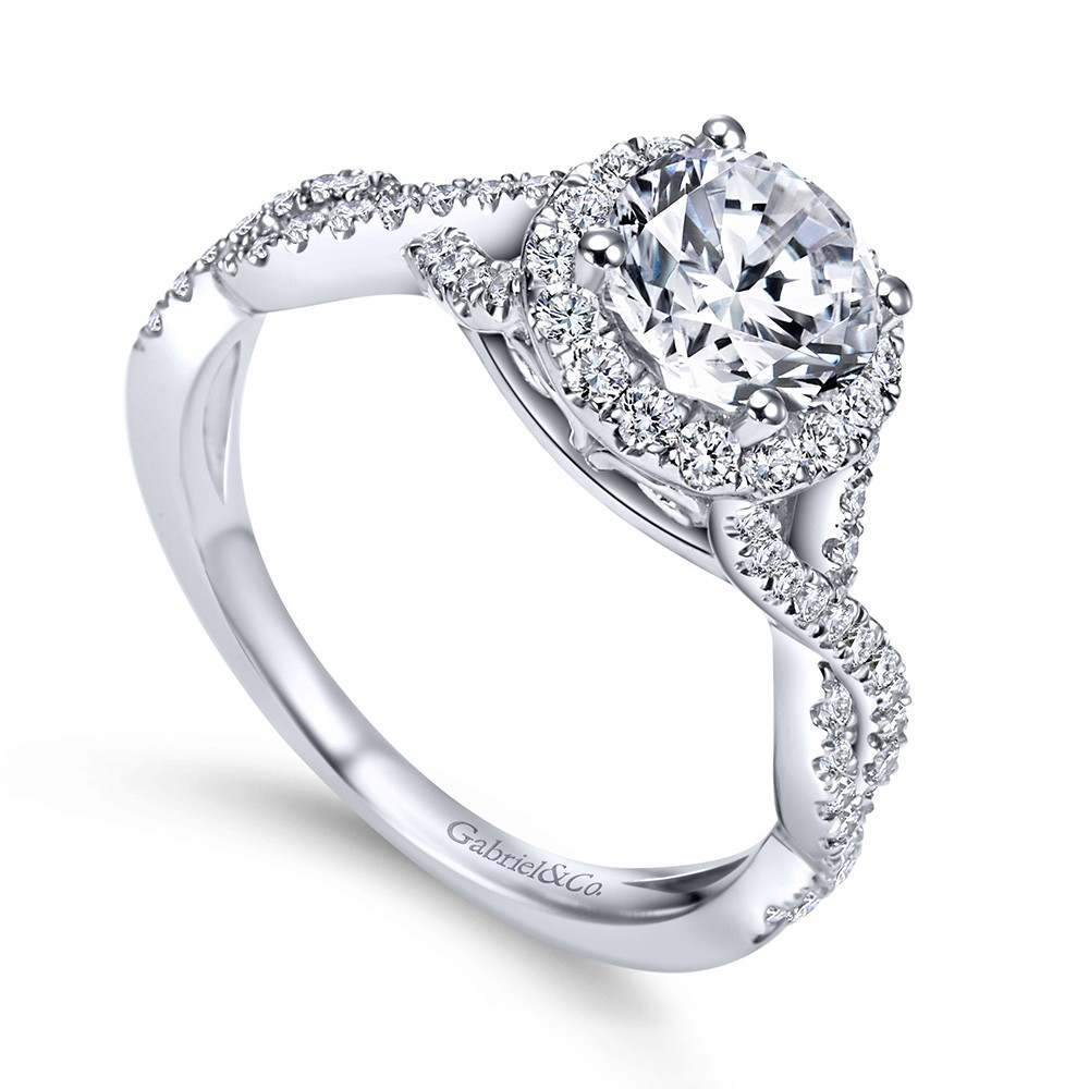 Gabriel & Co. Marissa 14kt White Gold Diamond Halo Twist Engagement Ring Setting angle view