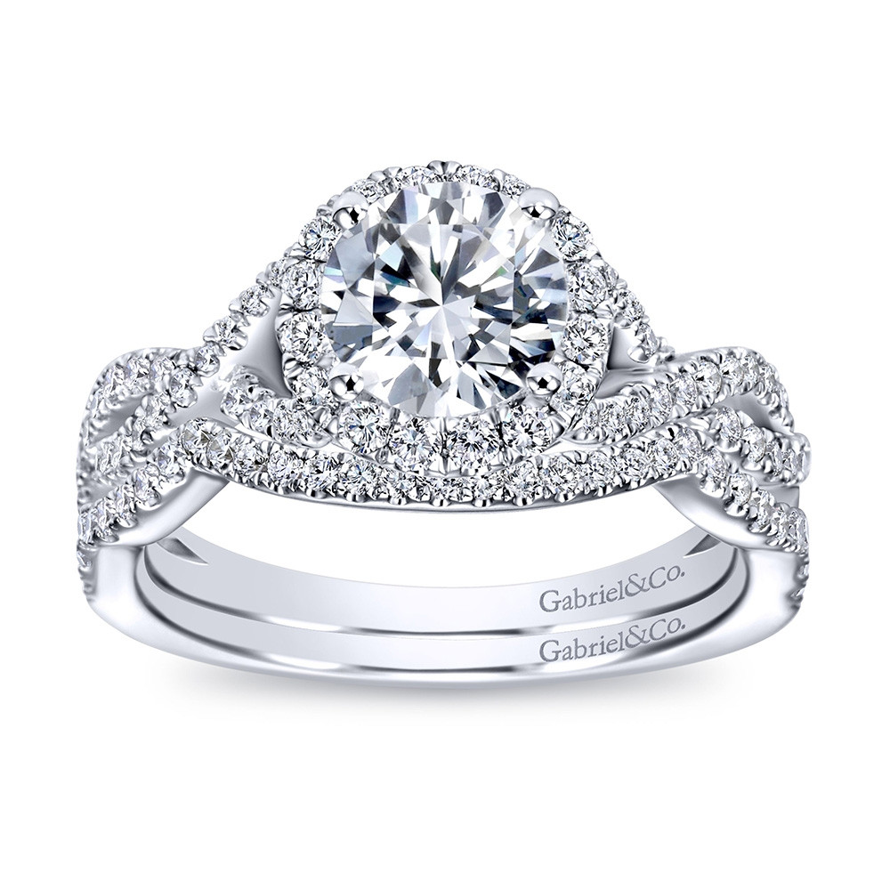 Gabriel & Co. Marissa 14kt White Gold Diamond Halo Twist Engagement Ring Setting with band