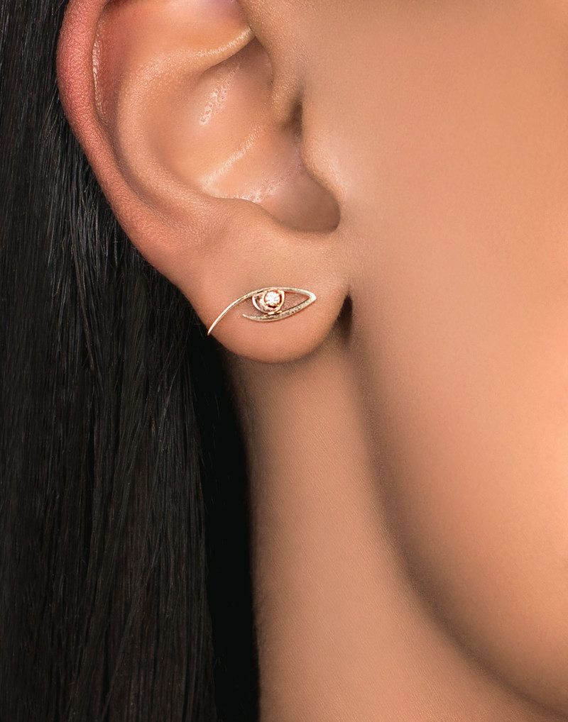 Lana Evil Eye Gold Stud Earrings model