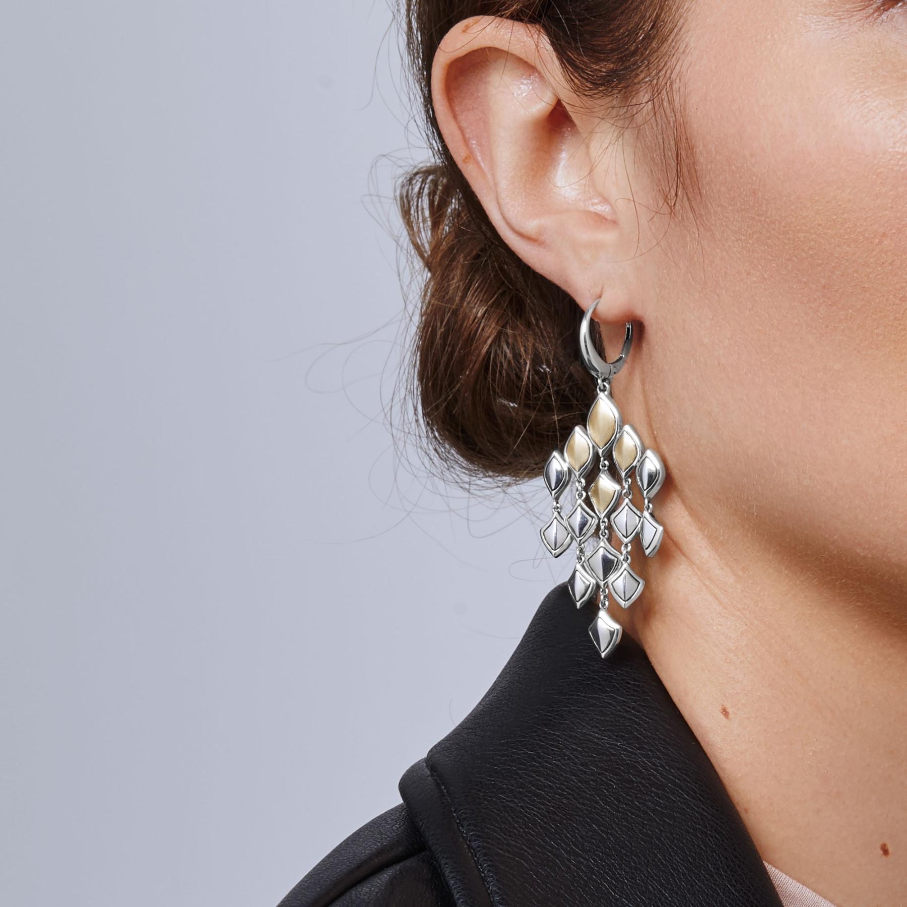 John Hardy Naga Legends Gold & Silver Dragon Scale Chandelier Earrings on model