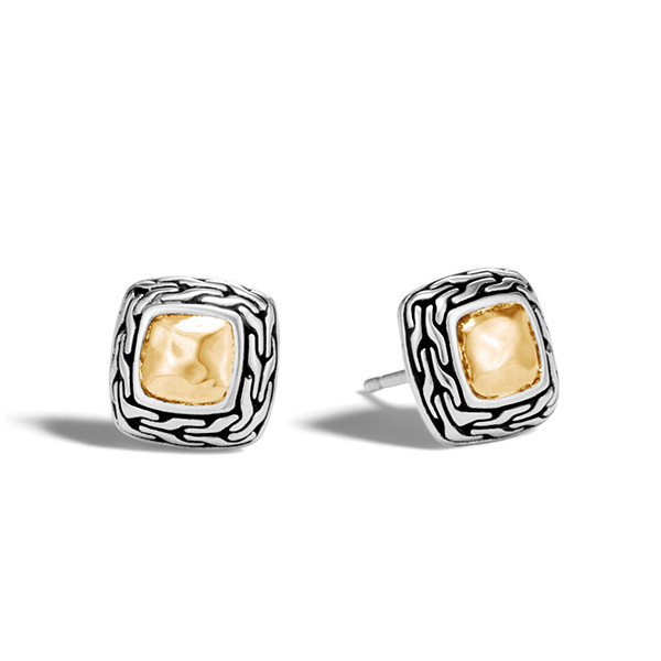 John Hardy Hammered Gold & Silver Heritage Stud Earrings