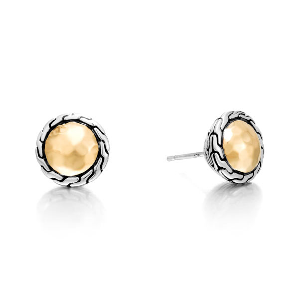John Hardy Classic Chain Two Tone Round Stud Earrings