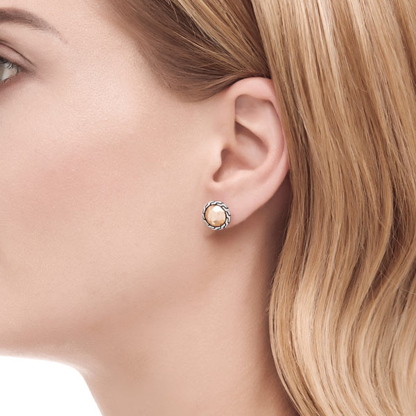 John Hardy Classic Chain Gold & Silver Round Studs on Model