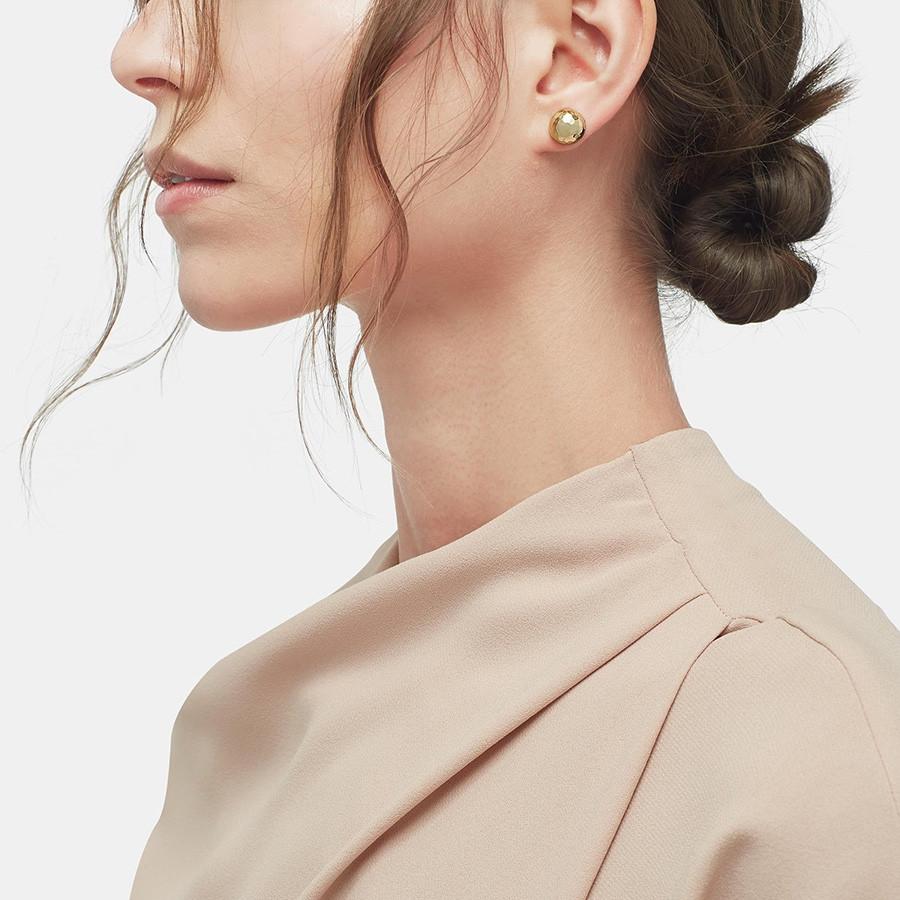 John Hardy Large Gold & Silver Hammered Stud Earrings on model